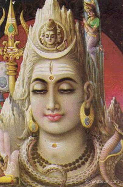 Image of the Hindu god Shiva with Chandra crescent moon on his head.
